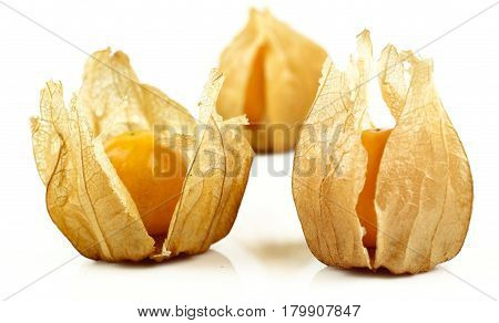 Fresh golden cape gooseberry, physalis on white background