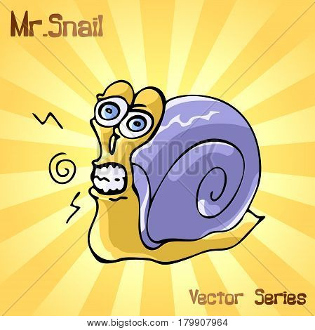 Mr. Snail with discontent. vector illustration EPS10
