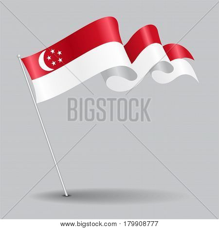 Singapore pin icon wavy flag. Vector illustration.