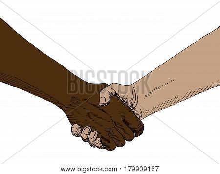 Hand drawn sketch of handshaking isolated on white