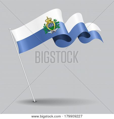 San Marino pin icon wavy flag. Vector illustration.