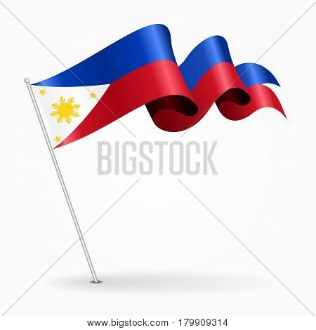 Philippines pin icon wavy flag. Vector illustration.