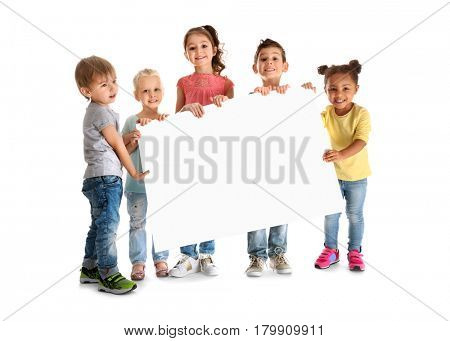 Cute little children with poster on white background