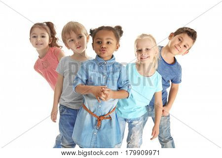 Cute little children on white background