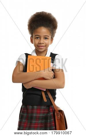 Cute African-American girl on white background