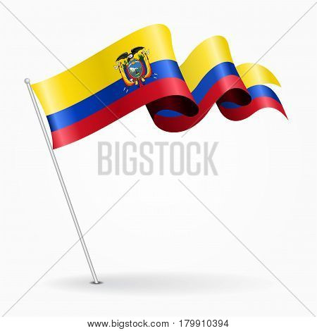 Ecuadorian pin icon wavy flag. Vector illustration.