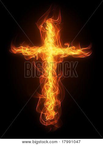Burning fire cross
