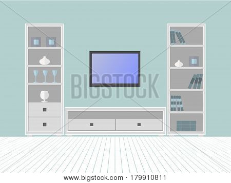 Interior of a living room with furniture box and TV