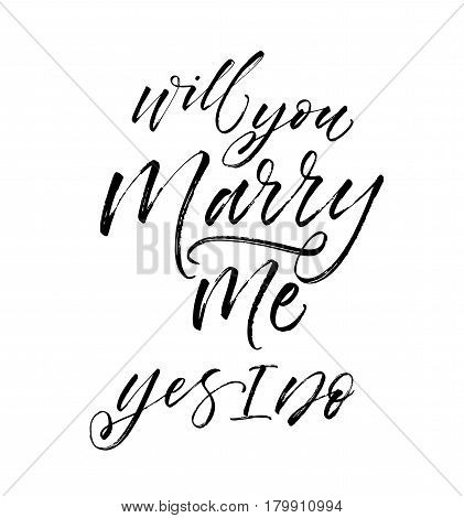Will you marry me phrase. Wedding phrase. Ink illustration. Modern brush calligraphy. Isolated on white background.