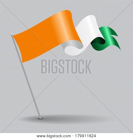 Cote d Ivoire pin icon wavy flag. Vector illustration.