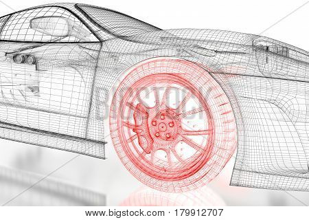 Car vehicle 3d blueprint mesh model with a red wheel tire on a white background. 3d rendered image