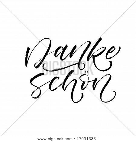 Thank you in German. Danke schon postcard. Ink illustration. Modern brush calligraphy. Isolated on white background.
