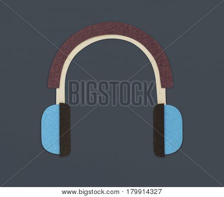 Portable headset icon hipster graphic