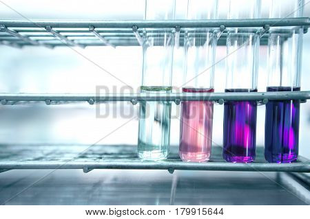 pink and purple test tube in metal steel rack on science laboratory background