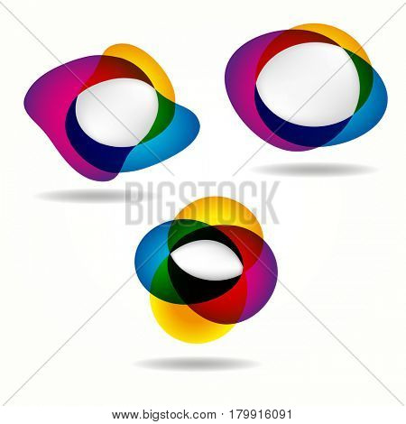 Abstract banners set of round colorful shapes of empty frames for your web design.