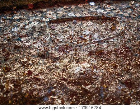 Worship Buddha footprint with gold foil, Buddhist merit