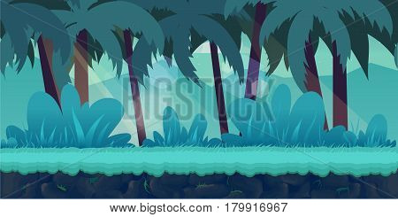 cartoon jungle landscape, vector unending background with separated layers for game.