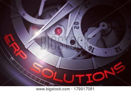 ERP Solutions - Enterprise Resource Planning - Inscription on the Mechanical Wristwatch with Visible Mechanism, Clockwork Close View. 3D rendering.
