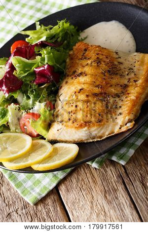 Fried Fillet Of Fish Arctic Char With Fresh Salad And Sauce Close-up. Vertical