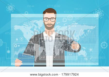 Bearded man touching the computer screen while browsing diagrams and the world map vector illustration