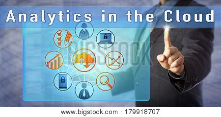 Blue chip business adviser presenting on Analytics in the Cloud. Information technology metaphor and business concept for an effective data analytics solution accessible in external infrastructure.