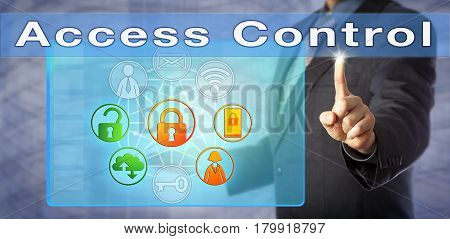 Blue chip security consultant is presenting an Access Control solution. Information technology management metaphor and cybersecurity concept for limiting access to computer resources and networks.