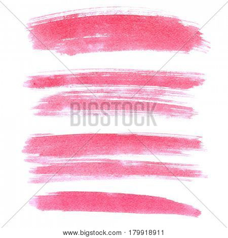 Set of pink brush strokes isolated on the white background. Vivid elements for your design