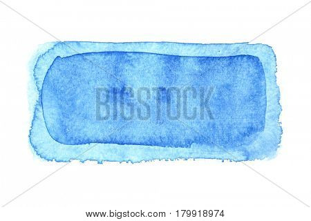 Bue watercolor frame isolated on a white background