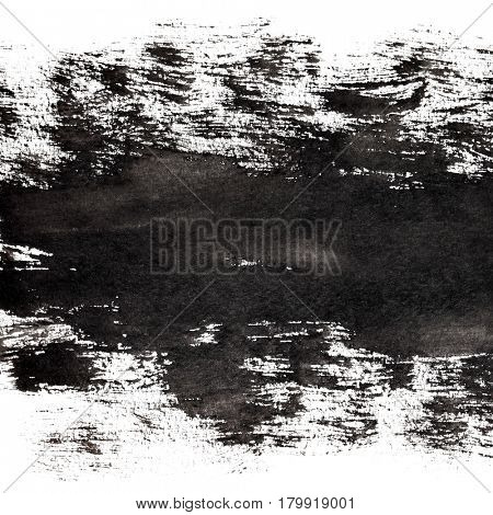 Grunge abstract background with brush strokes of black paint.