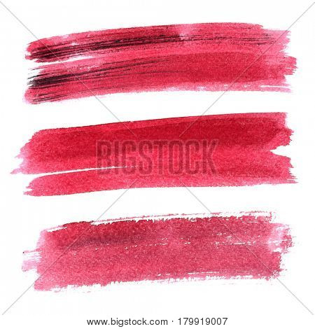 Set of red brush strokes isolated on white background. Vivid elements for your design