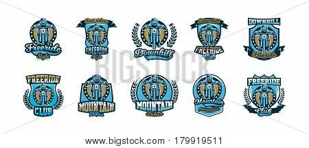 A set of logos, emblems of a rider riding a mountain bike. Downhill, freeride, extreme sport. Vector illustration