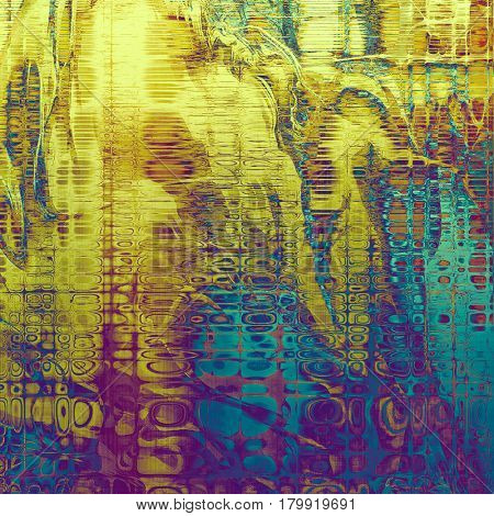 Grunge texture or background with retro design elements and different color patterns: yellow (beige); brown; blue; purple (violet); pink