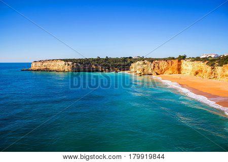 View of Praia da Senhora Rocha, Algarve region, Portugal
