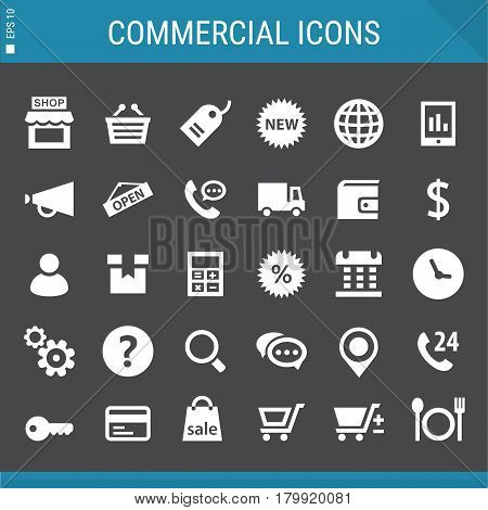 Modern flat design commercial icons collection on gray
