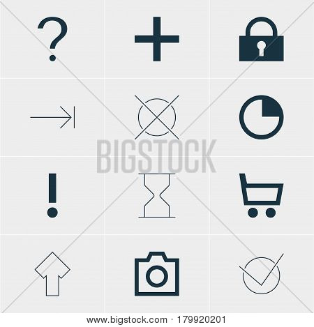 Vector Illustration Of 12 Interface Icons. Editable Pack Of Snapshot, Plus, Upward And Other Elements.