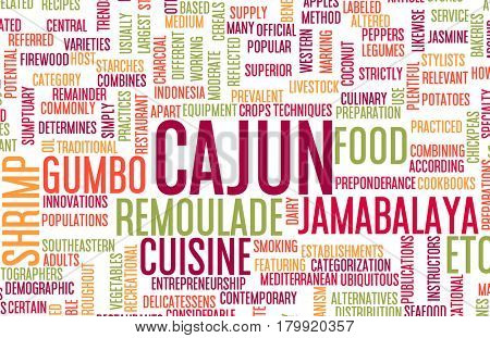 Cajun Food and Cuisine Menu Background with Local Dishes 3D Illustration Render