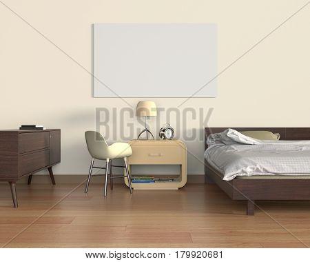 Mock up poster in bedroom 3D Rendering