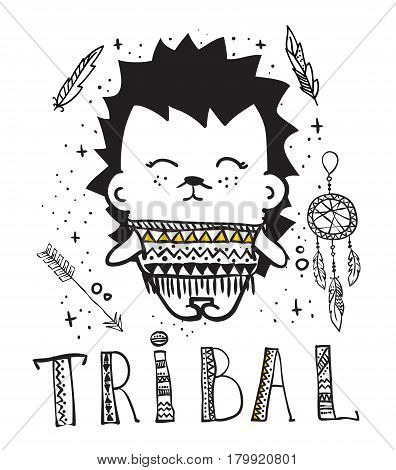 Vector illustration with cute doodle hedgehog animals and other tribal things for kid's interiors, card or poster.