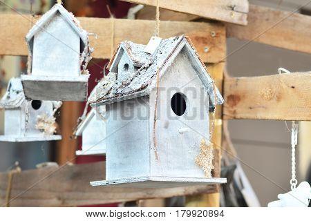 white nesting box for birds. Birds house.