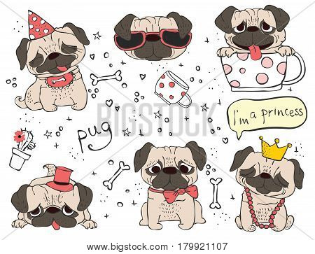 Vector set of cute doodle dogs pugs for cards, banners and posters