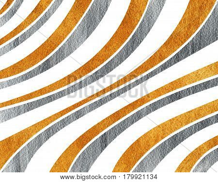 Silver And Golden Painted Curved Striped Background.