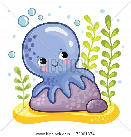 Cute octopus sits on a rock. Octopus on the seabed. Vector illustration in a children's style.