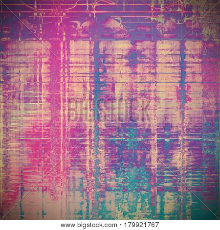 Vintage background, antique grunge backdrop or scratched texture with different color patterns: yellow (beige); blue; gray; purple (violet); cyan; pink