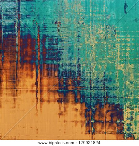 Scratched vintage texture, grunge style frame or background. With different color patterns: yellow (beige); brown; green; blue; red (orange); cyan
