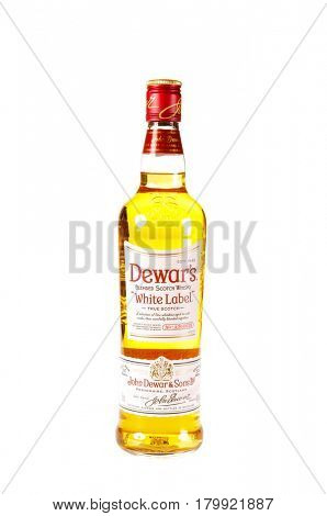 Colbert, WA - April 1, 2017: Bottle of Dewars White Label Blended Scotch Isolated on white, illustrative editorial