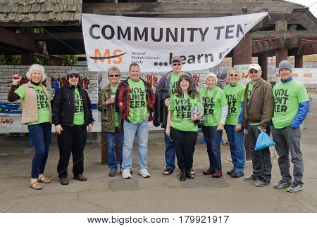 Spokane, WA - April 2, 2017: Lions club members supporting the Spokane MS Walk, a fund raising walk for Multiple sclerosis, editorial