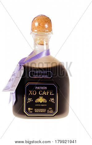 Colbert, WA - April 1, 2017: Patron XO Cafe Mexican tequila isoleted on white, illustrative editorial
