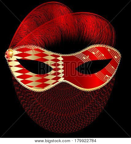 dark background, red-golden carnival half mask with veil and feathers