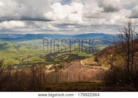 wild mountain landscape in overcast spring morning