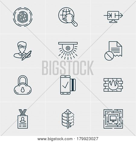 Vector Illustration Of 12 Data Protection Icons. Editable Pack Of Copyright, Finger Identifier, Easy Payment And Other Elements.